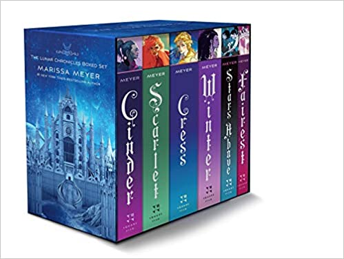 The Lunar Chronicles by Marissa Meyer box set with 2020 illustrated covers: Cinder, Scarlet, Cress, Winter, Stars Above, Fairest