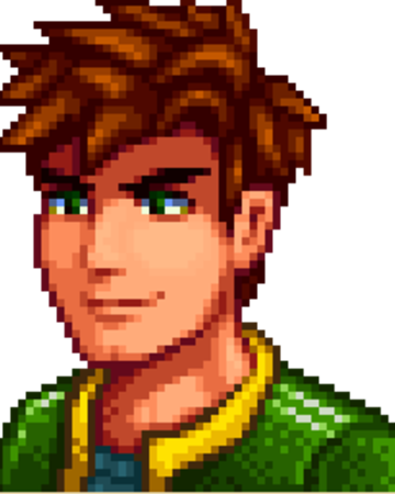 8-bit shoulders-up side view rendering of Alex from Stardew Valley: a man with spiky brown hair, heavy brows, and a green jacket