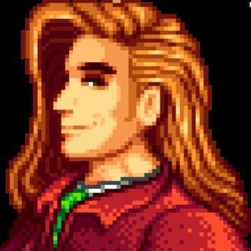 Shoulders-up rendering of Elliott from Stardew Valley: man with long auburn hair, dark brows, dark eyes, and a red jacket