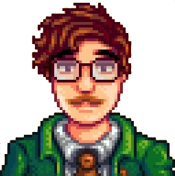 Shoulders-up rendering of Harvey from Stardew Valley: brunette man, dark eyebrows, glasses, moustache, green jacket