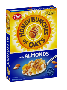 A box of Honey Bunches of Oats cereal with Almonds