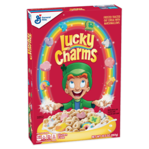 A box of Lucky Charms cereal