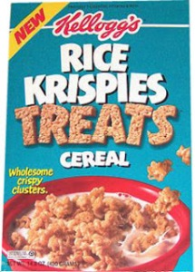 A box of Kellogg's Rice Krispies Treats Cereal from the 1990s